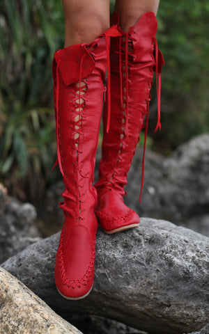 Red Knee High Leather Boots for Pre Order
