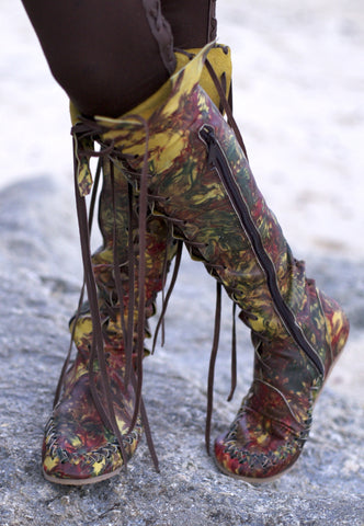 Galaxy Dream Leather Knee High Boots