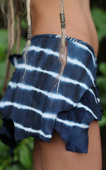 Navy Blue Tie Dye Leather Skirt
