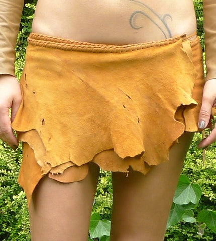 Antique Tan Leather Belt Skirt