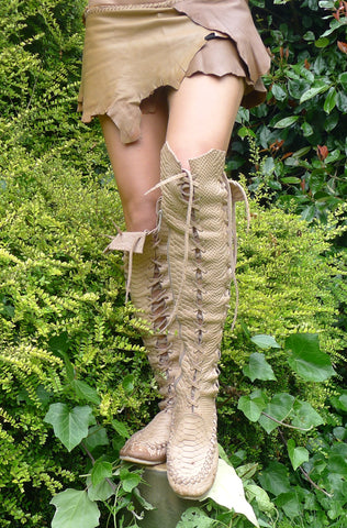 Caramel Croco Print Knee High Leather Boots