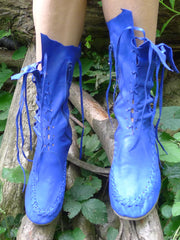 Cobalt Blue Leather Ankle Boots