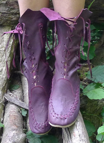 Plum Leather Ankle Boots for Pre Order