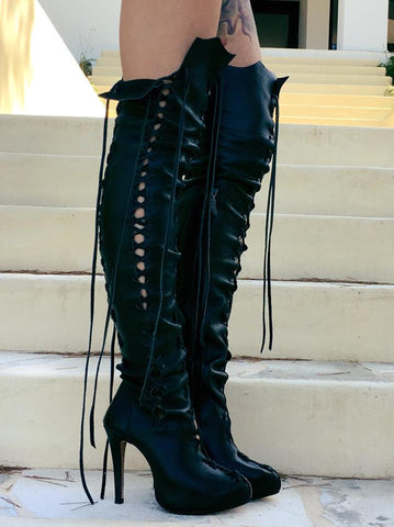 Ms Perfect Black Leather Knee High Boots for Pre Order