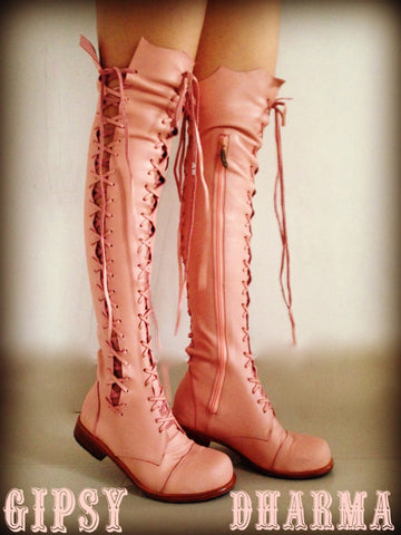 'Clockwork Fairy' Pink Knee High Boots for Pre Order
