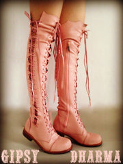 'Clockwork Fairy' Knee High Boots  in Pink for Pre Order