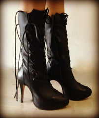 Ms Perfect Black Leather Ankle Boots
