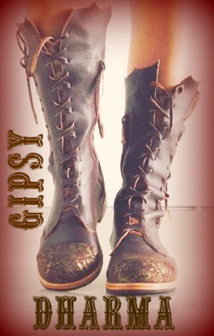 'Clockwork Fairy' Ankle Boots in Brown with a bit of Golden Dust on Top