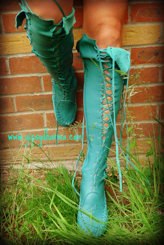 Dark Turquoise Knee High Leather Boots