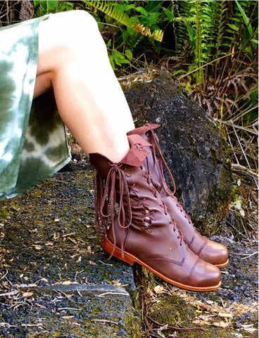 'Clockwork Fairy' Ankle Boots in Brown
