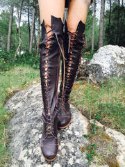 'Clockwork Fairy' Knee High Boots in Brown