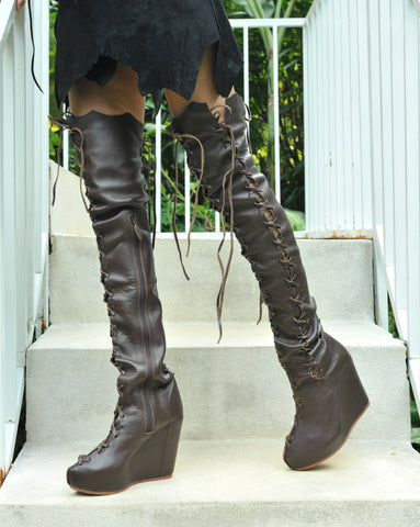 Ms Perfect Over Knee High Wedges Boots in Brown for Pre Order