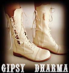 'Clockwork Fairy' Ankle Boots in Cream for Pre Order