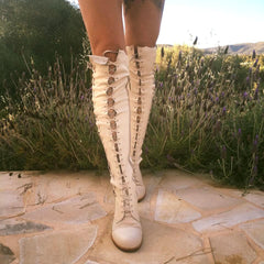 'Isla Blanca Affair' Leather Knee High Boots