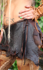 Brown leather belt skirt