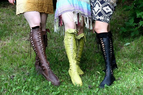Gipsy Dharma Vegan Pleather Knee High Boots for Pre Order