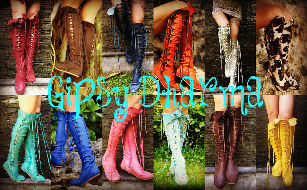 Mehndi Ankle Boots : Leather boots u red wine knee high gipsy dharma