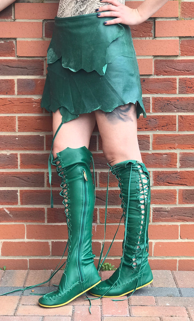 pretty nice high quality materials on wholesale Leather Boots – Clockwork Fairy Knee High Leather Boots For ...