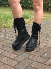 Black Leather Ankle Platform Boots for Pre Order