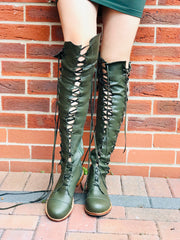 'Clockwork Fairy' Knee High Boots in Dark Forest Green