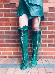 Emerald Leather Skirt