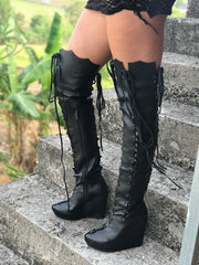 Ms Perfect Black Knee High Wedges Boots