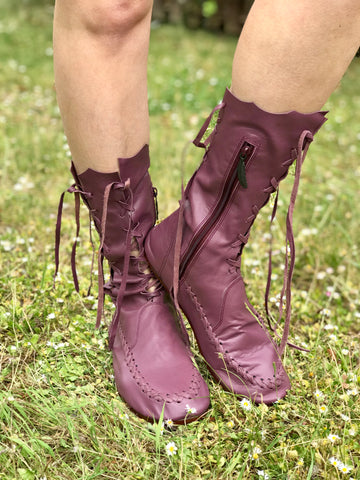 Plum Leather Ankle Boots