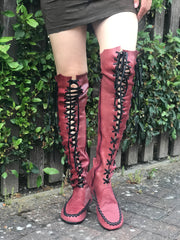 Oxblood Leather Knee High Boots with Black Laces and Black soles