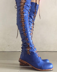 'Clockwork Fairy' Knee High Boots in Cobalt with Tan laces