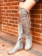 'Clockwork Fairy' Knee High Boots in Grey for Pre Order
