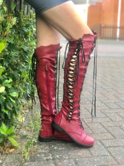 'Clockwork Fairy' Knee High Boots in Oxblood with Black Soles