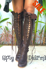Dark Brown Knee High Boots