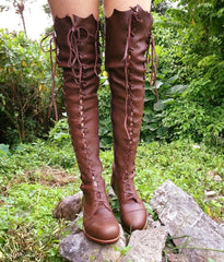 'Clockwork Fairy' Knee High Boots in Milk Chocolate