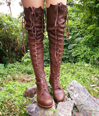 'Clockwork Fairy' Over Knee High Boots in Milk Chocolate