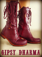 'Clockwork Fairy' Ankle Boots in Plum for Pre Order