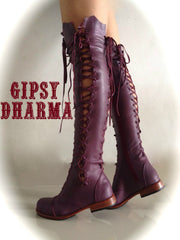 'Clockwork Fairy' Knee High Boots in Plum for Pre Order