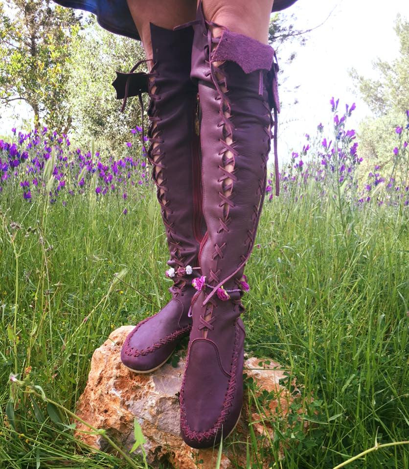 Plum Knee High Leather Boots For Women