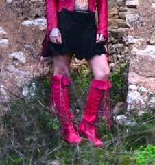 'Clockwork Fairy' Knee High Boots in Red