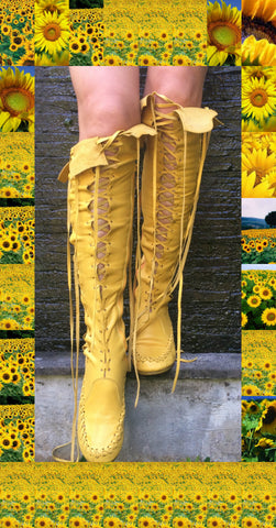 Sunflower Knee High Leather Boots
