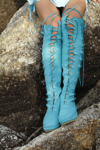 Turquoise Knee High Boots