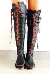 Dark Green Leather Knee High Boots with Brown laces for Pre Order