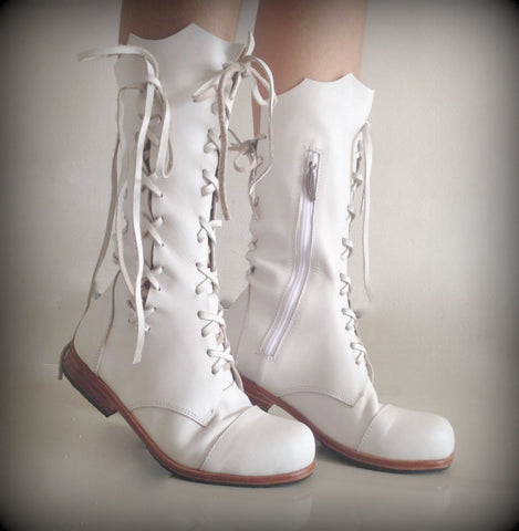 'Clockwork Fairy' Ankle Boots in White
