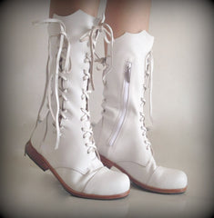 'Clockwork Fairy' Ankle Boots in White for Pre Order