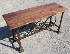 Bench- Black Walnut and Steel Bench 18x48