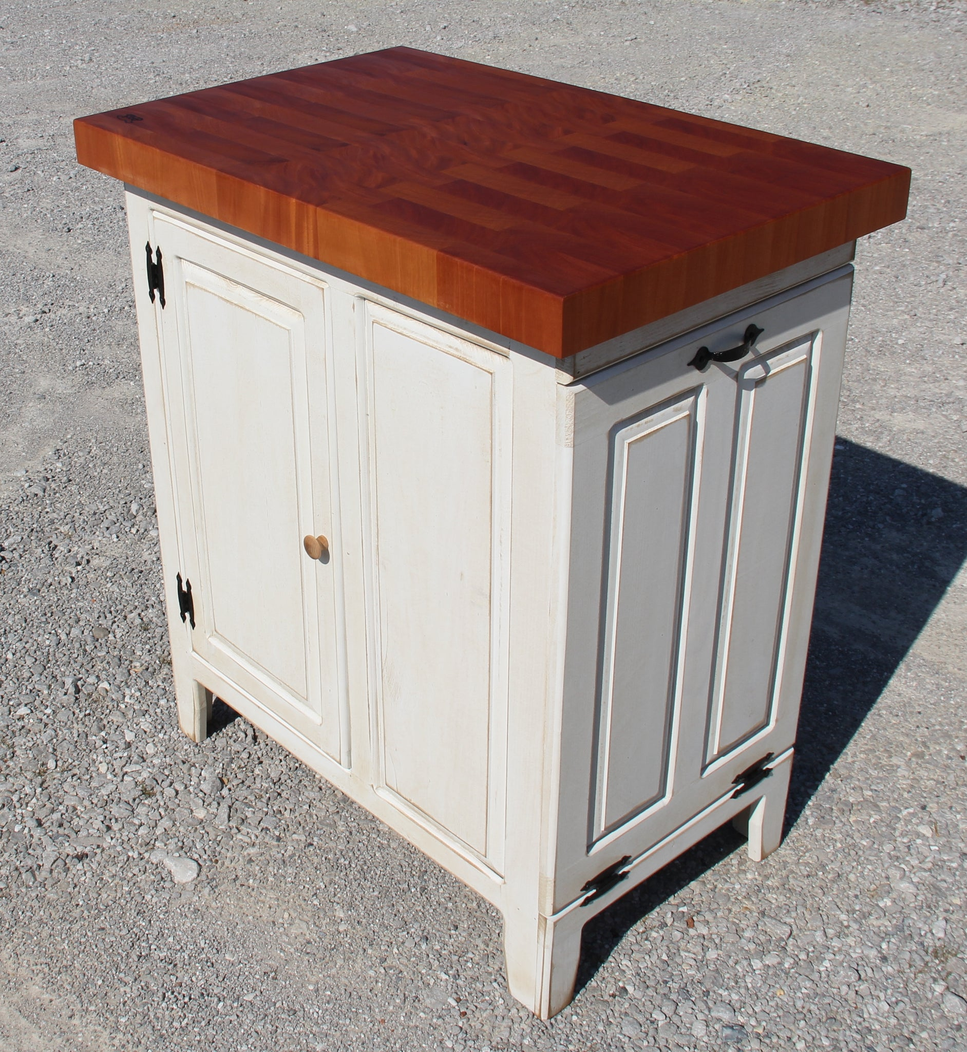 Island--Small Distressed Wood Island 22 x 34  w/Tilt out Trash Can