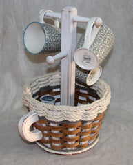 Coffee Mug Basket-- Cottage Grey