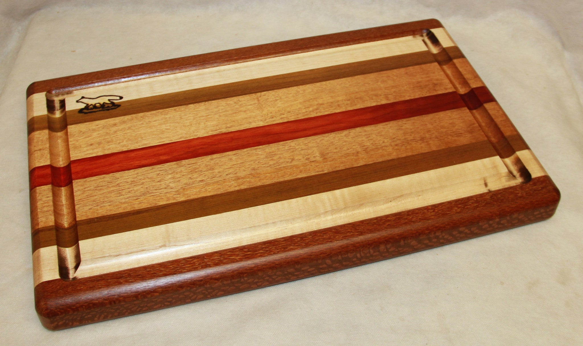 Cutting board--Stripes Board and Bow Knife w/drip trail
