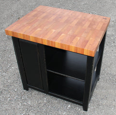 Island--36 inch Long Black Distressed Mahogany Butcher Block w/tilt out trash