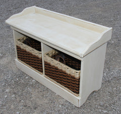 Bench--Distressed Small Wood Bench w/cubby baskets
