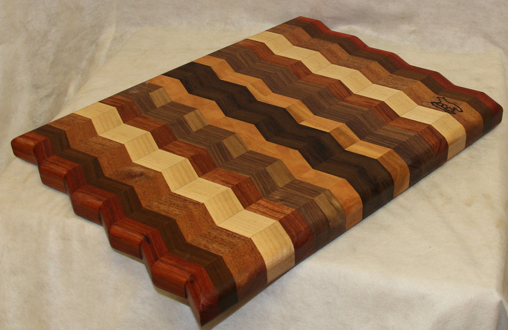 Cutting Board Multi Colored Wood Chevron Board